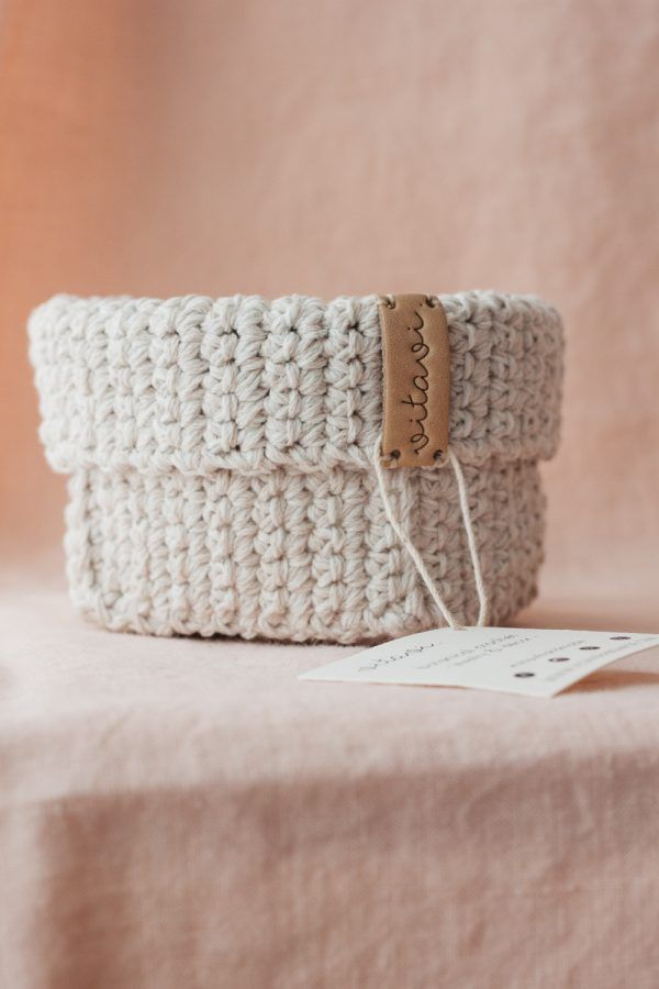Small Handmade Crochet Basket - Cream