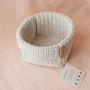 Medium Handmade Crochet Basket - Cream