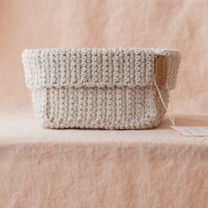 Big Handmade Crochet Basket - Cream