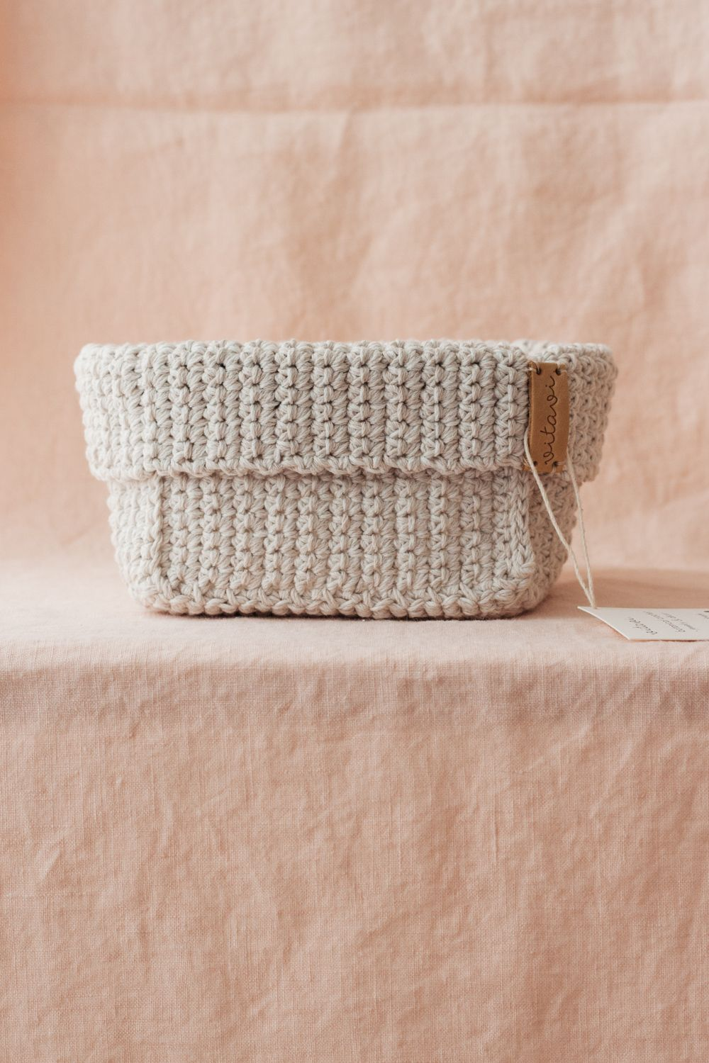Big Handmade Crochet Basket - Cream