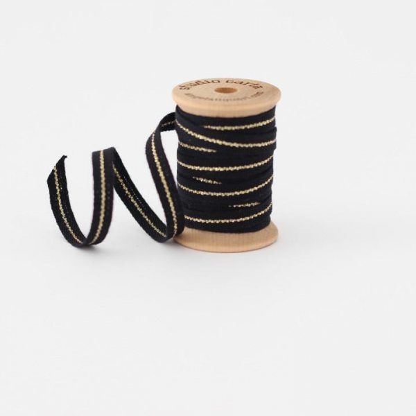 Studio Carta Metallic Line Cotton Ribbon - Black & Gold