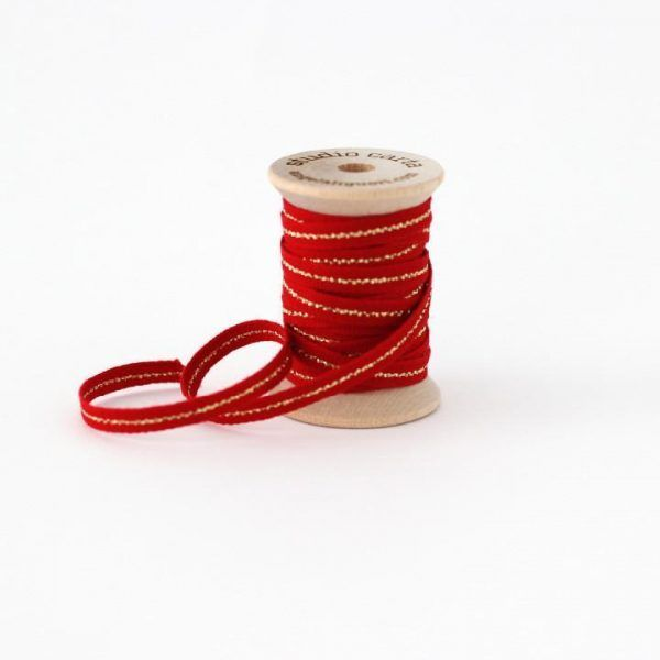 Studio Carta Metallic Line Cotton Ribbon - Red & Gold