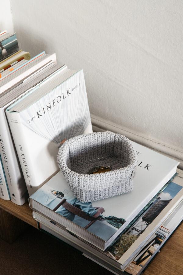 Big Handmade Crochet Basket - Grey