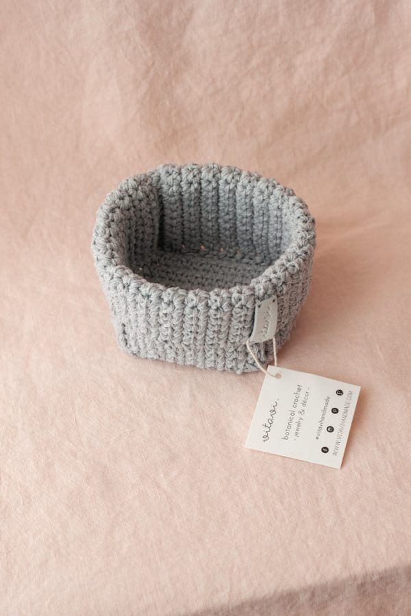 Small Handmade Crochet Basket - Grey