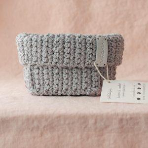 Small Handmade Crochet Basket - Grey