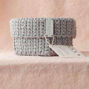 Medium Handmade Crochet Basket - Grey