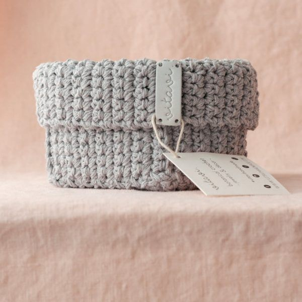 Medium Handmade Crochet Basket - Grey