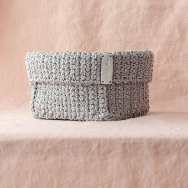 Big Handmade Crochet Basket - Grey
