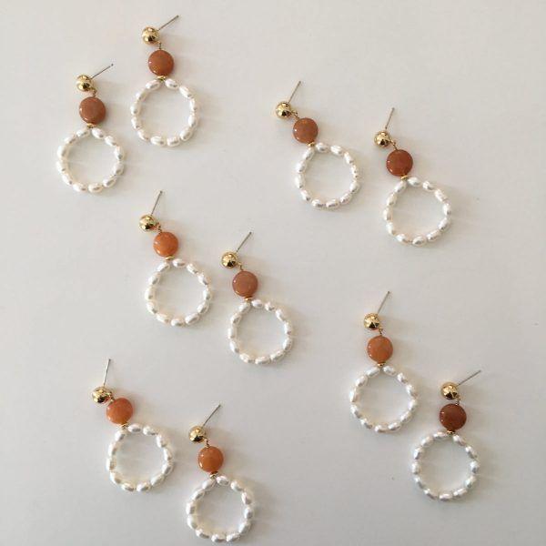 Caramel Pearl Hoop Earrings