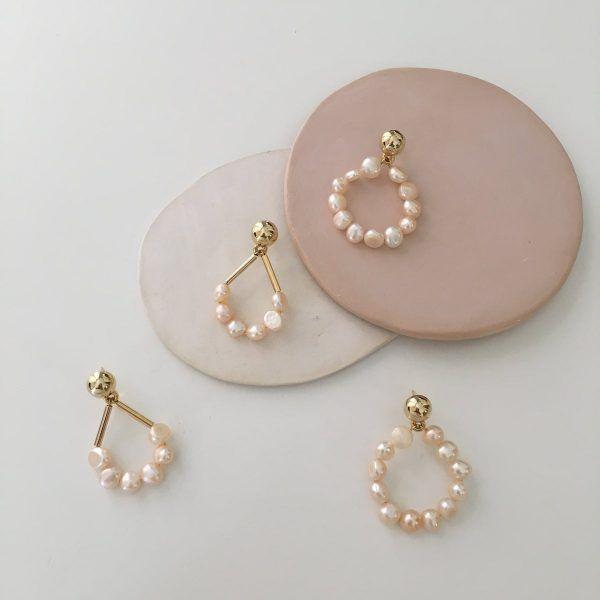 Rose Petites Perles Hoop Earrings
