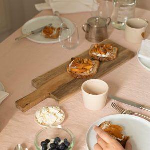 Peach Linen Tablecloth