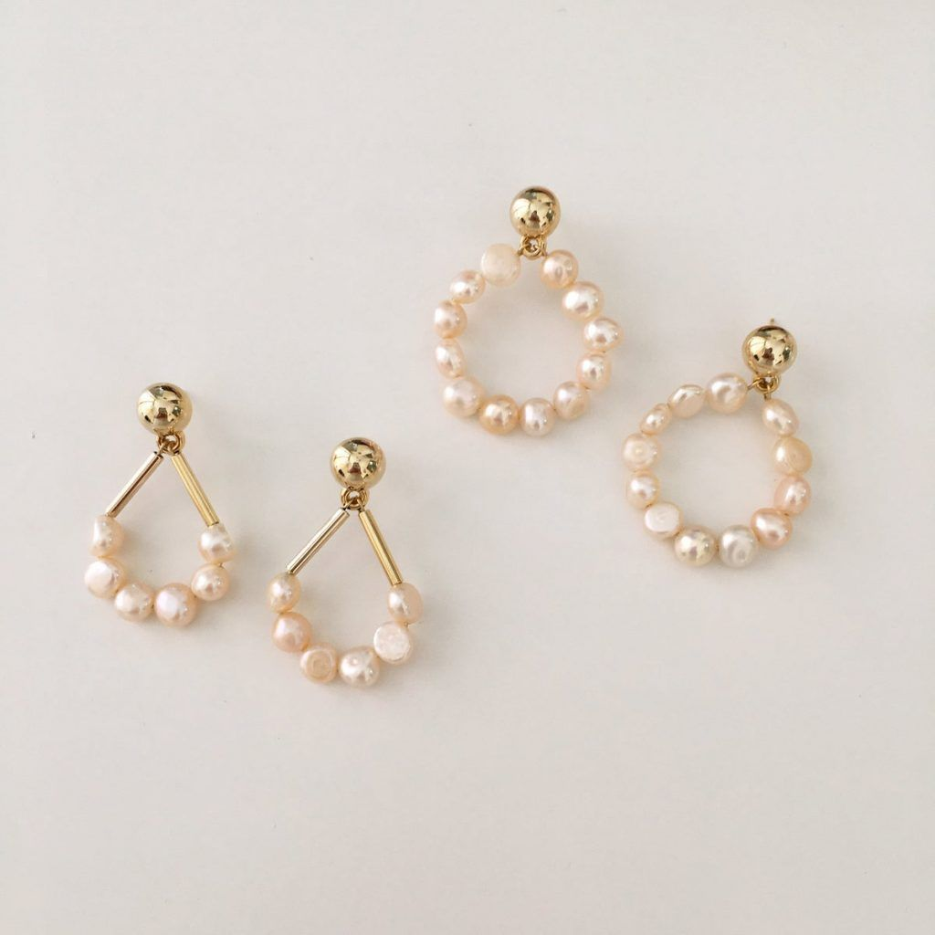 Rose Petites Perles Hoop Earrings