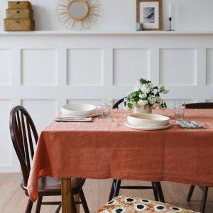 Terracotta Linen Tablecloth Linen Tablecloth