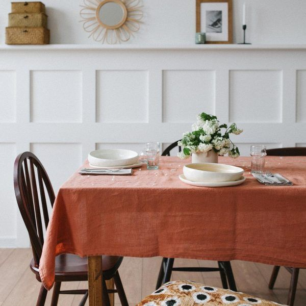 Terracotta Linen Tablecloth Linen Tablecloth