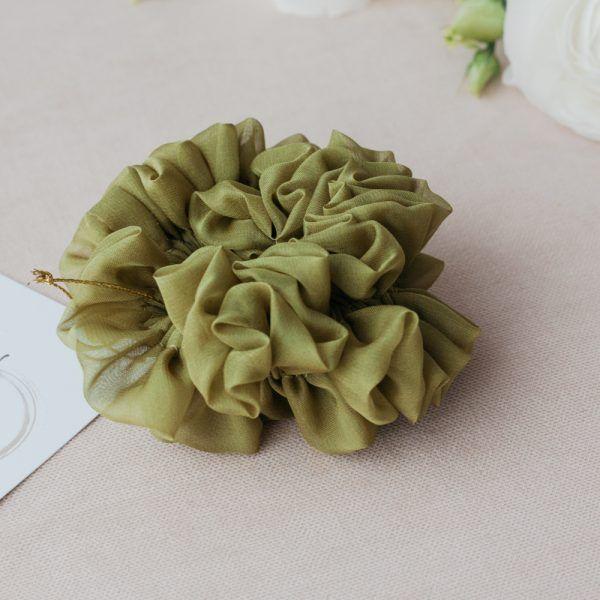 Silk Hair Scrunchie - Olive Green