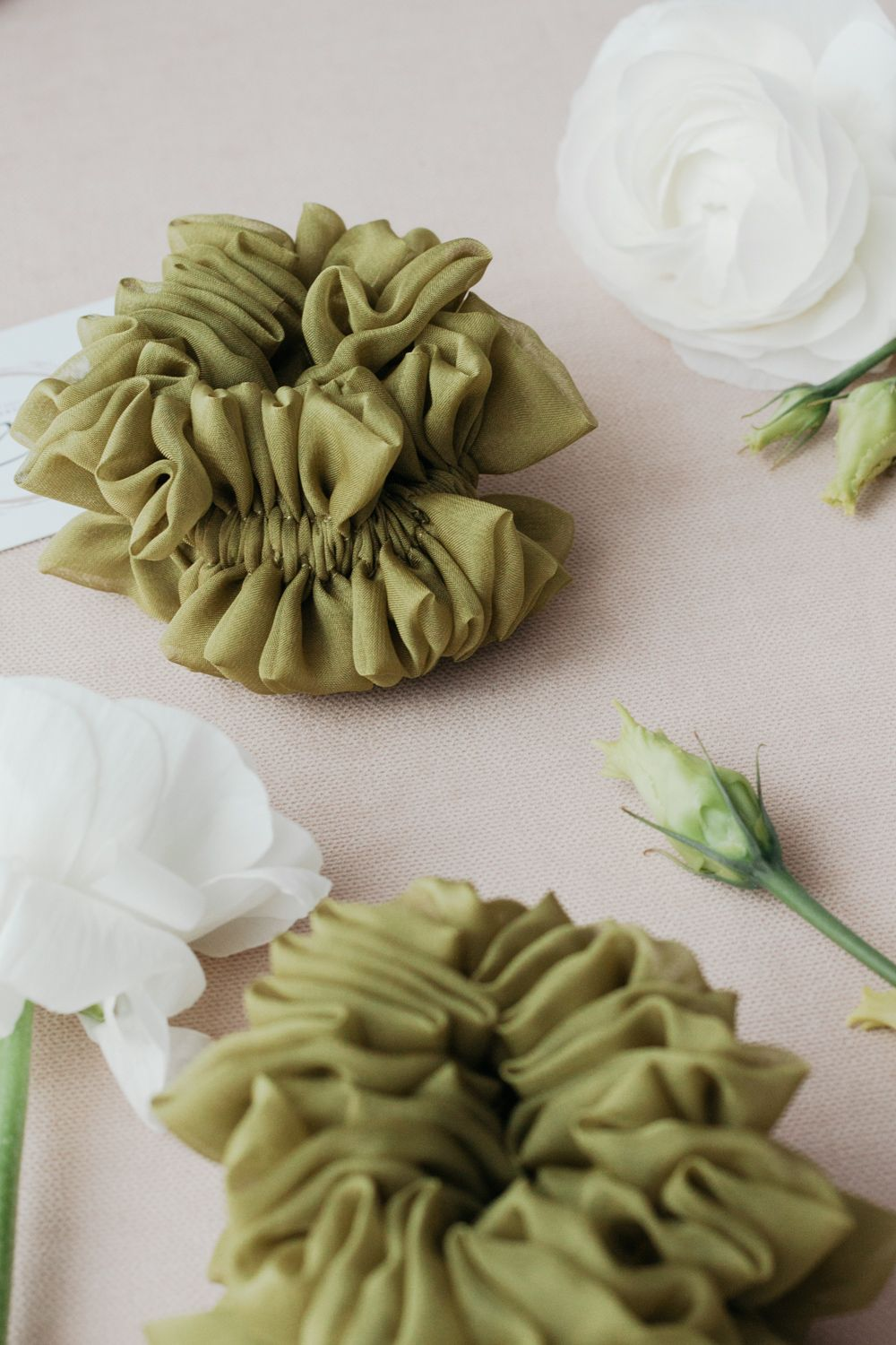 Silk Hair Scrunchie - Olive Green