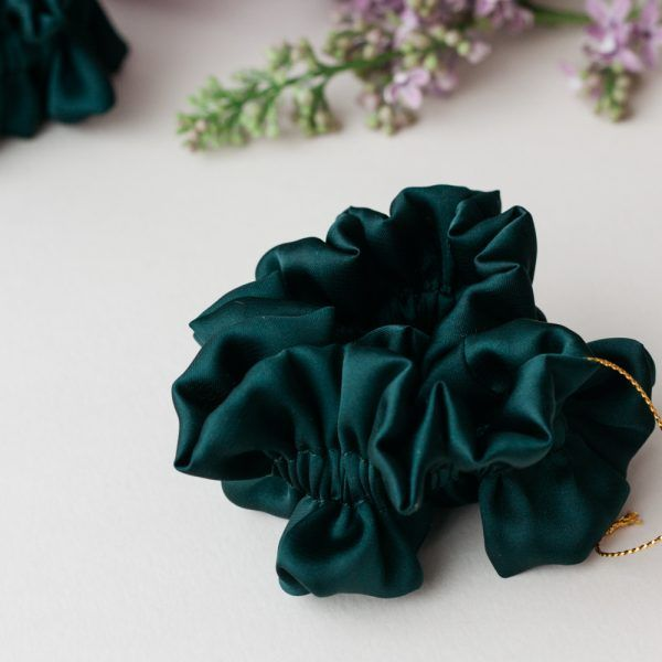 Silk Hair Scrunchie - Petrol
