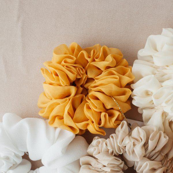 Silk Hair Scrunchie - Mustard