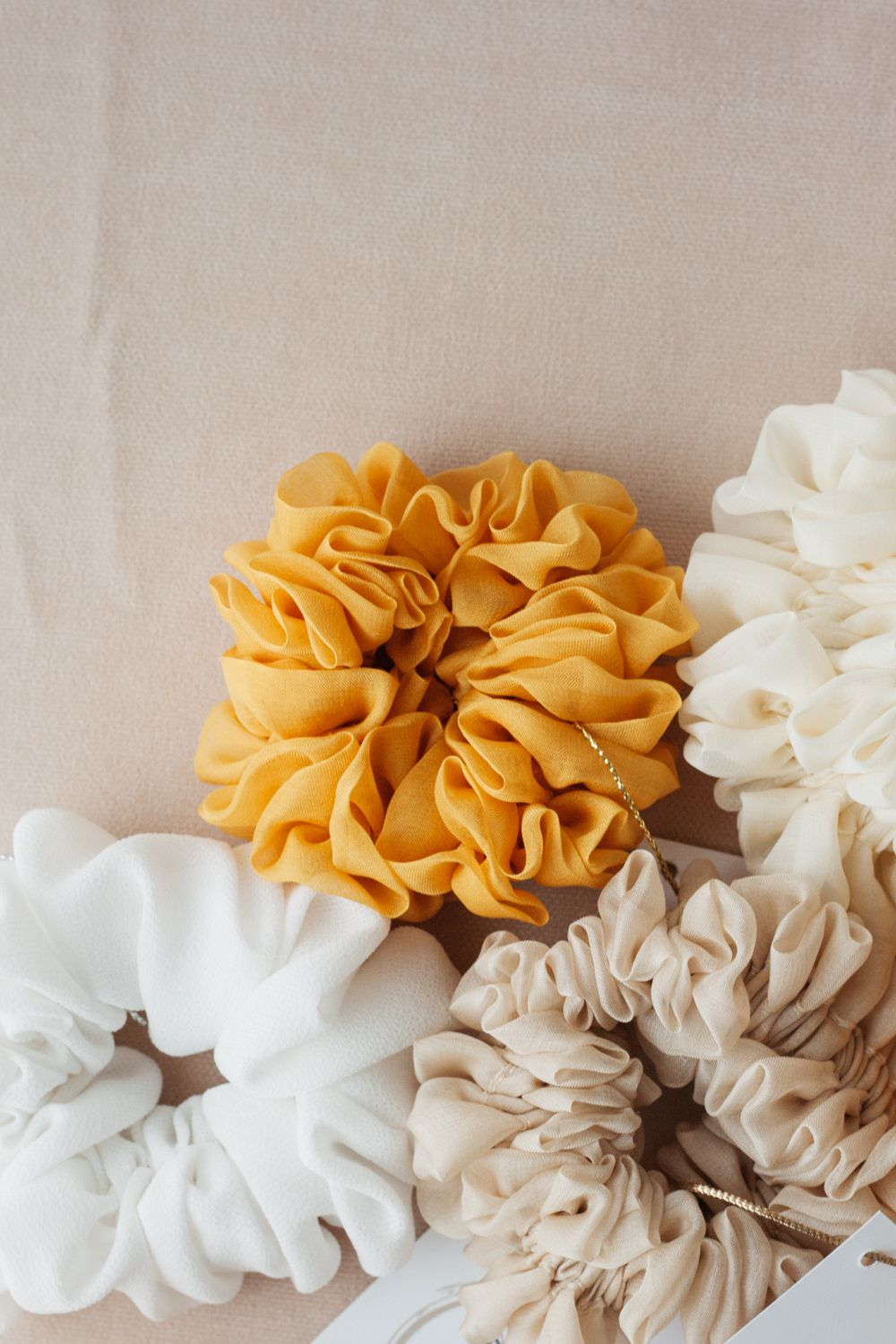 Silk Hair Scrunchie - Mustard