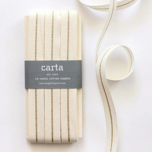 Studio Carta Metallic Line Ribbon, 10 meters paddle – Natural & Gold