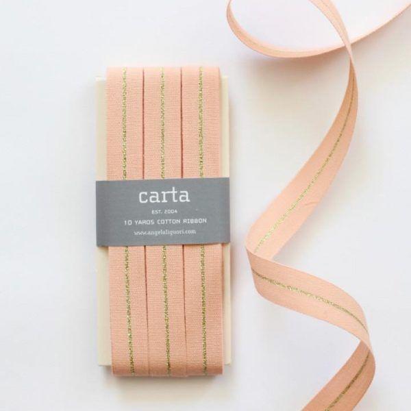 Studio Carta Metallic Line Ribbon 10 meters paddle – Peach & Gold