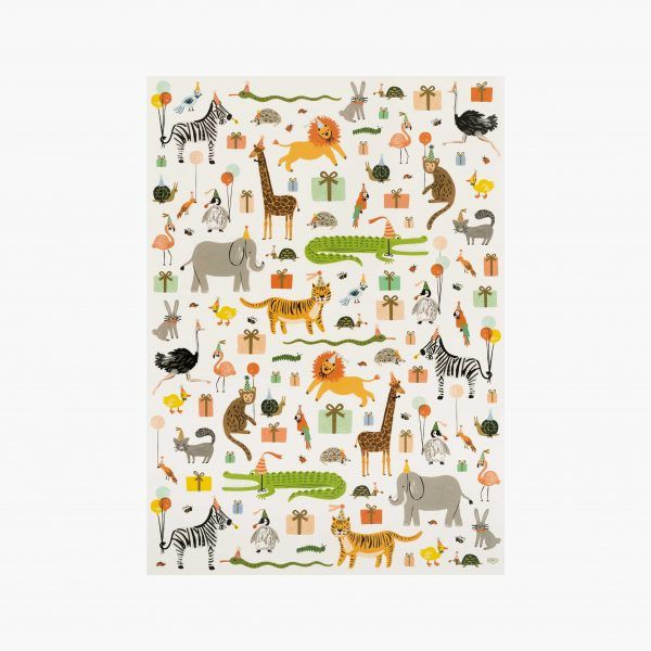 "Rifle Paper Co. ""Party Animals"" Wrapping Paper Sheet"