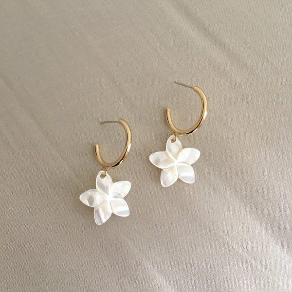 Pearl Frangipani Flower Earrings