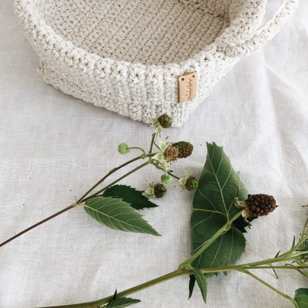 Handmade Crochet Basket With Handles - Cream