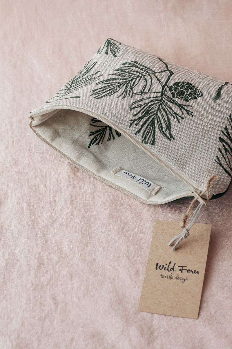 """""""Pine"""" Hand-Printed Linen Beauty Pouch"""