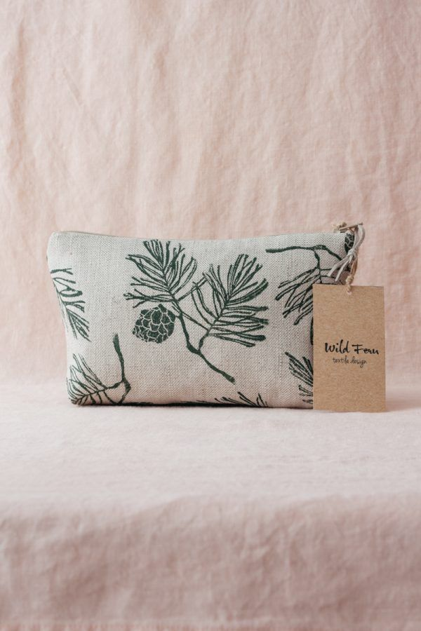"""Pine"" Hand-Printed Linen Beauty Pouch"
