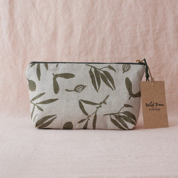 """Olive"" Hand-Printed Linen Beauty Pouch"