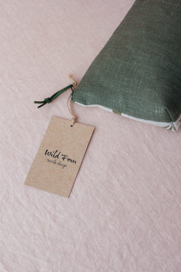 """""""Olive"""" Hand-Printed Linen Beauty Pouch"""