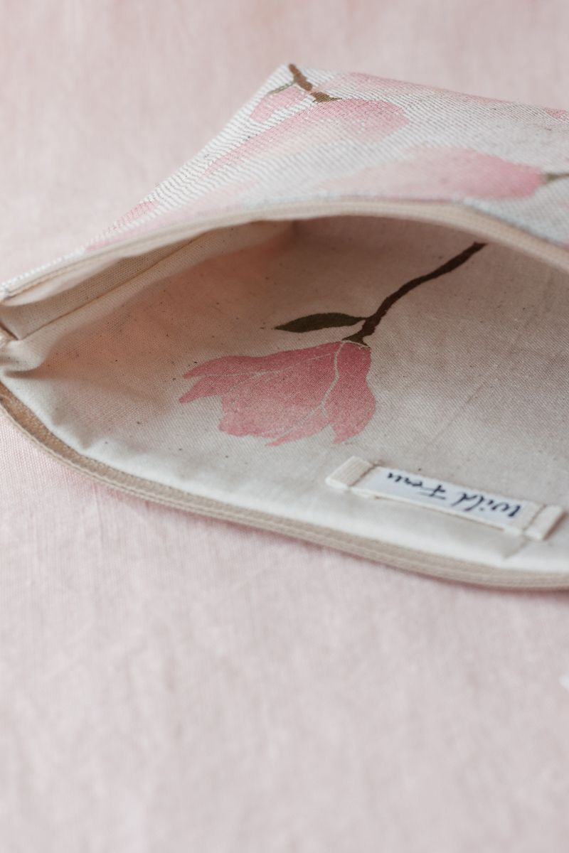 """""""Magnolia"""" Hand-Printed Linen Beauty Pouch"""