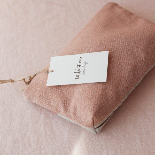 """Magnolia"" Hand-Printed Linen Beauty Pouch"