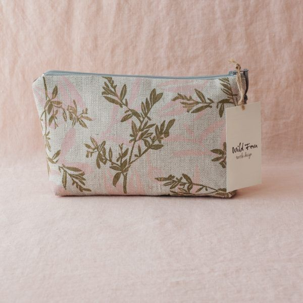 """Blossom"" Hand-Printed Linen Beauty Pouch"