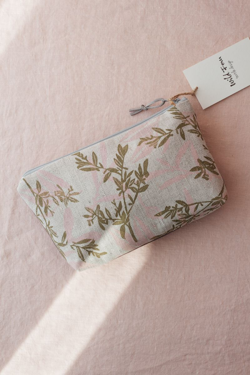 """""""Blossom"""" Hand-Printed Linen Beauty Pouch"""
