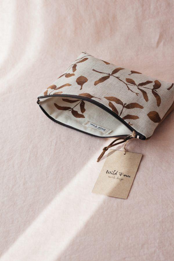 """Gold Botanics"" Hand-Printed Linen Beauty Pouch"