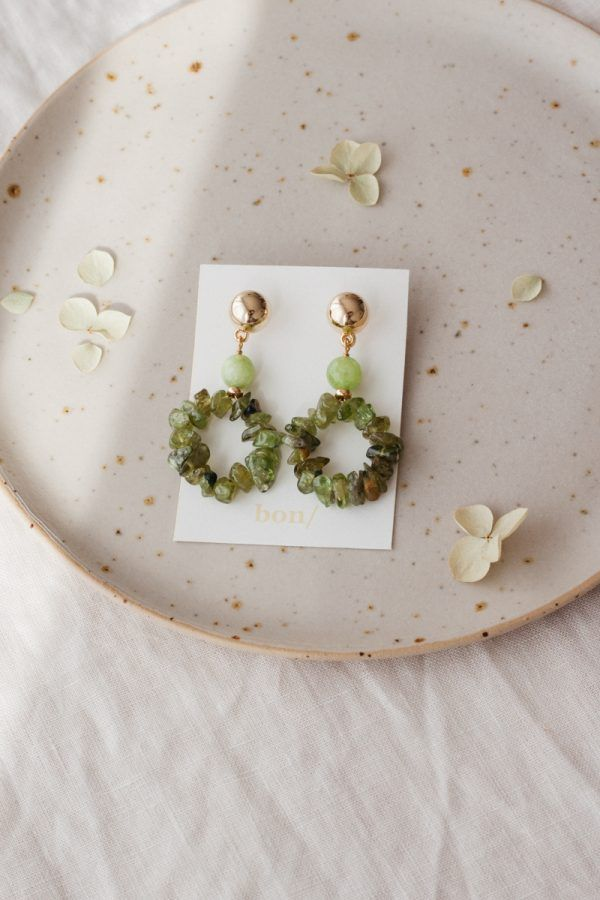 Phoebe Olive Green Crystal Earrings