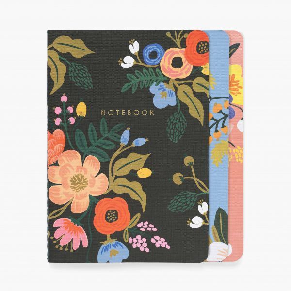 """Lively Floral"" Stitched Notebook Set of 3"