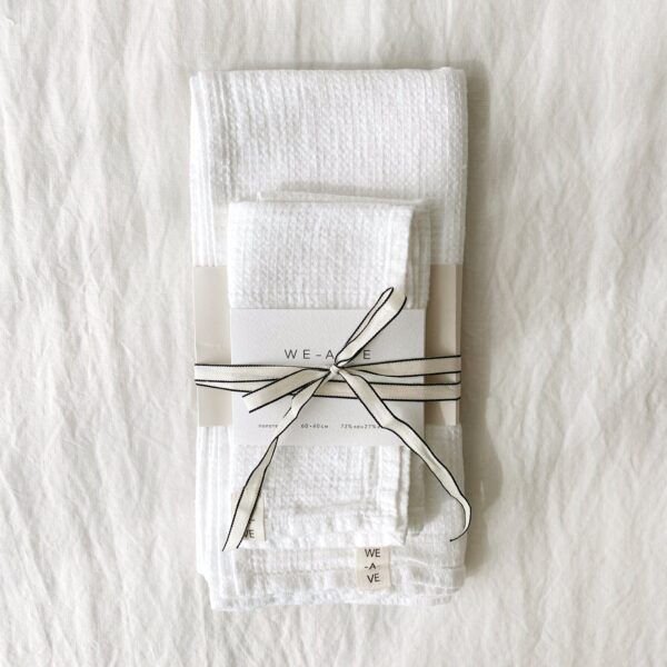 White Linen Towel Set