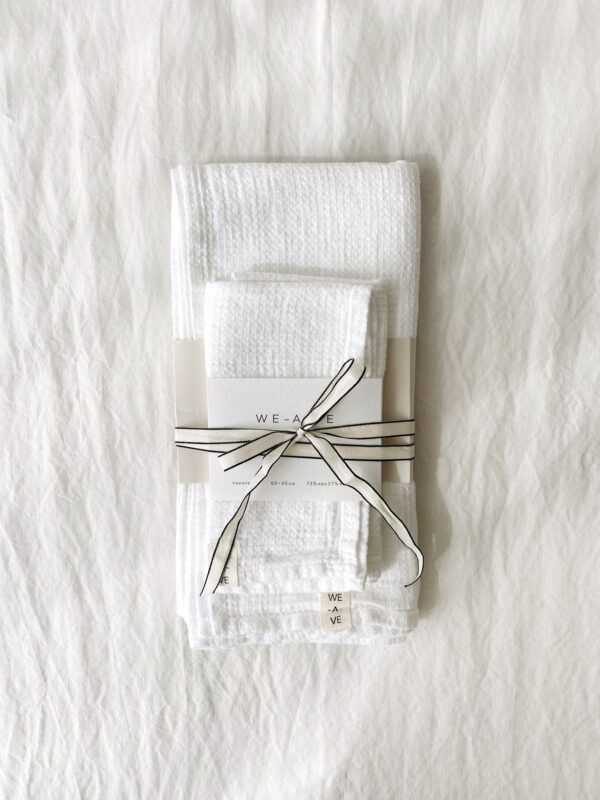 White Linen Towel Set