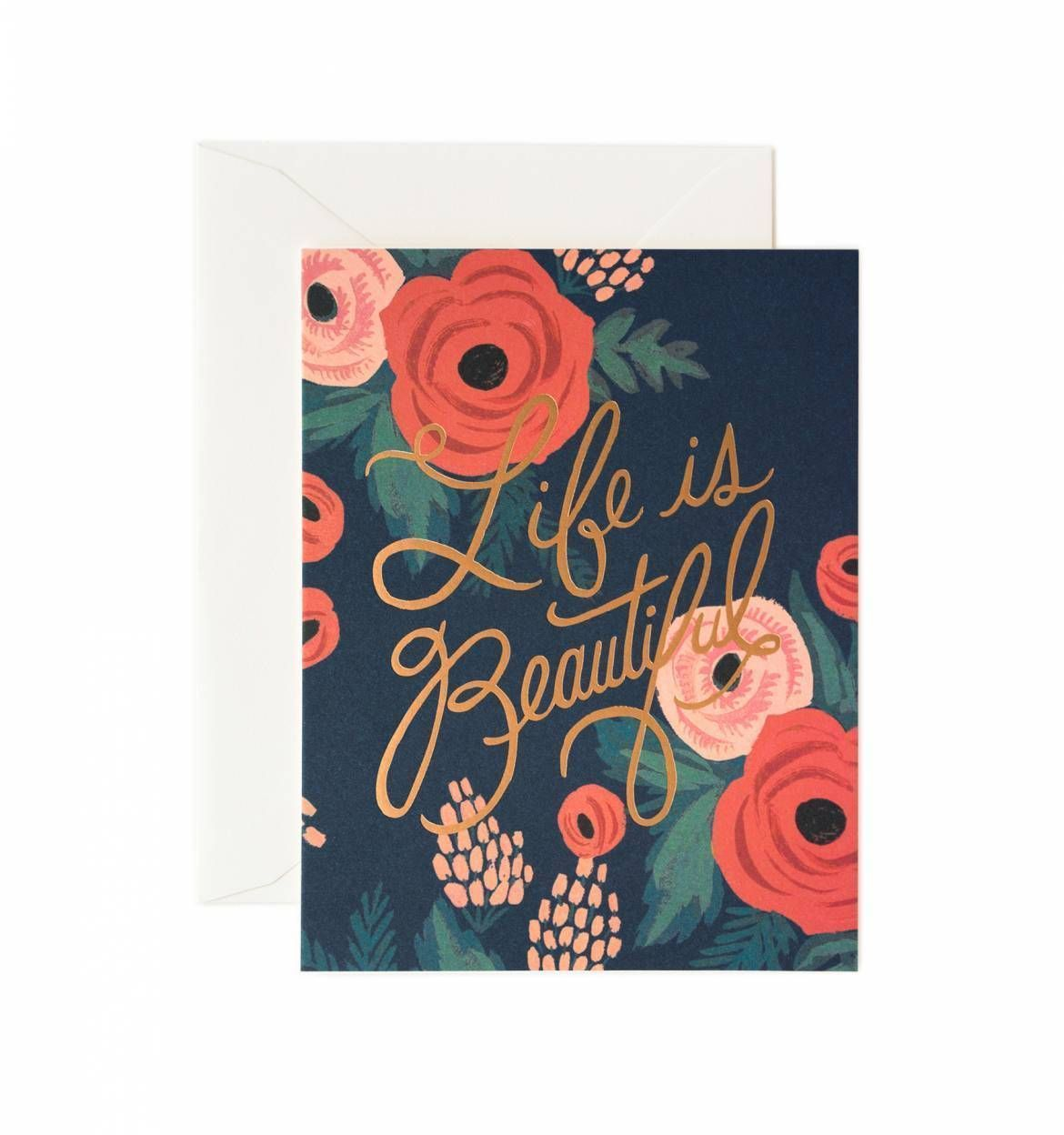 """Rifle Paper Co. """"Life Is Beautiful"""" Greeting Card"""