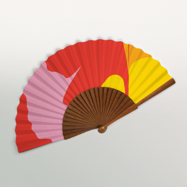 "Sahara ""Ginkgo Pop"" Handmade Folding Fan"