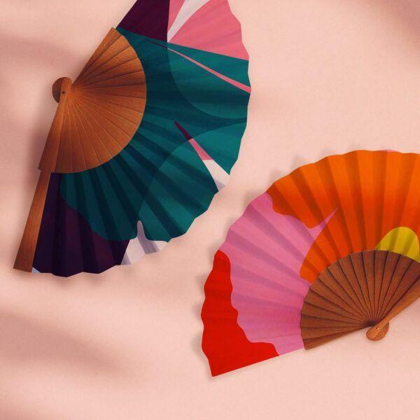 """""""Ginkgo Pop"""" Handmade Folding Fan"""