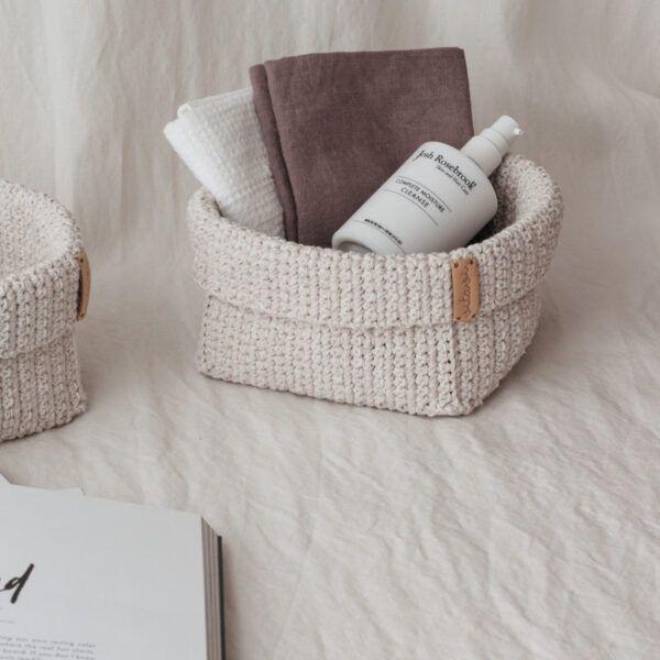 Large Handmade Crochet Basket - Cream