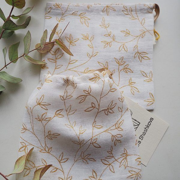 Scrunchie Bag - Gold Leaves