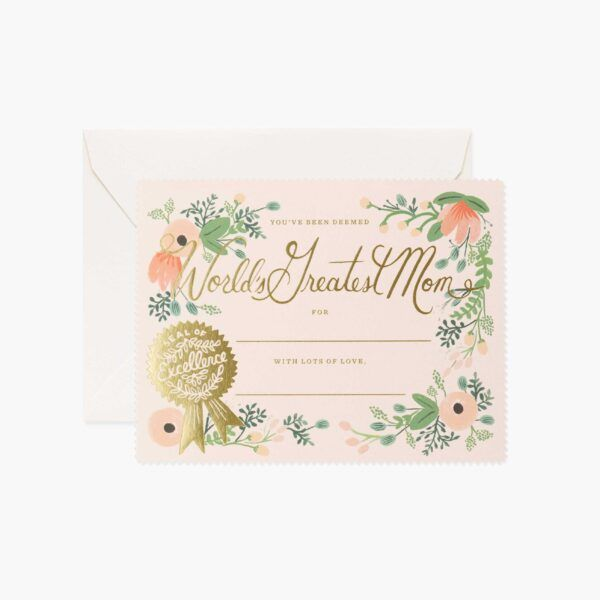 "Rifle Paper Co. ""Greatest Mom Certificate"" Greeting Card"