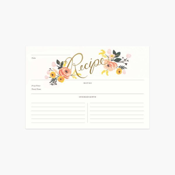 "Rifle Paper Co. ""Peony"" Recipe Card"