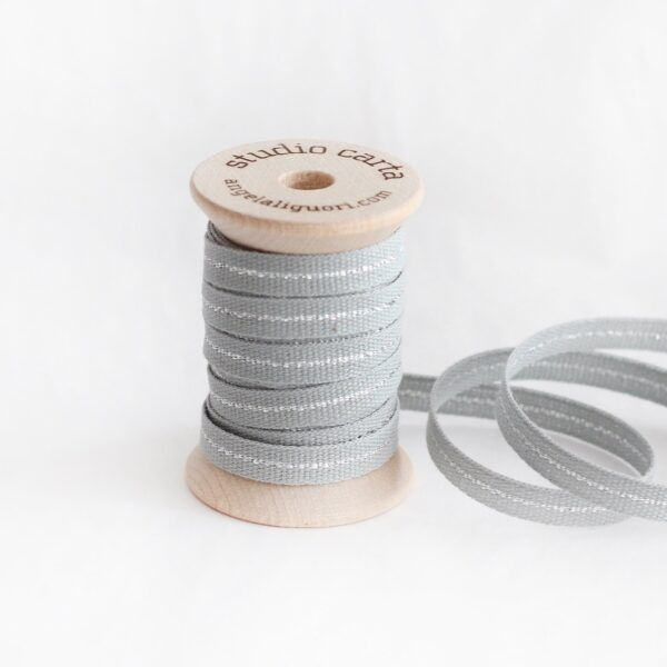 Studio Carta Metallic Line Cotton Ribbon - Ice & Silver