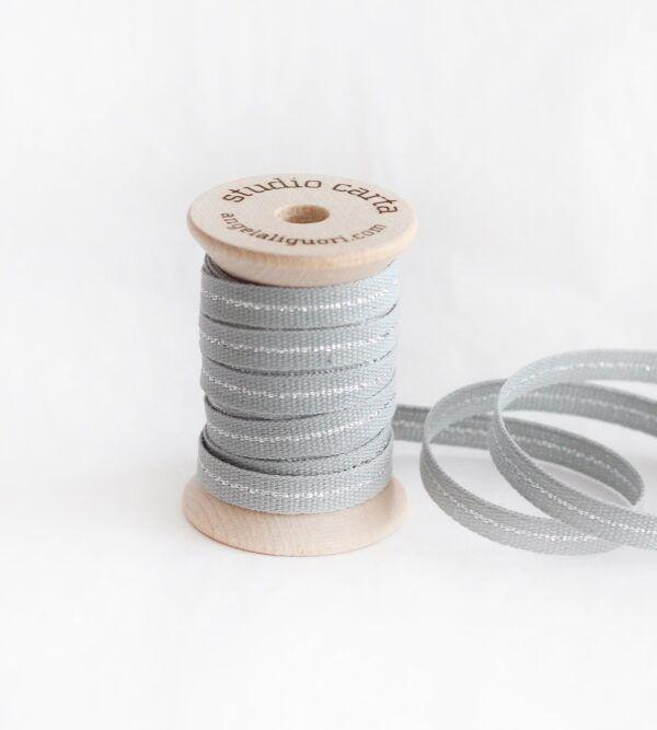 Studio Carta Metallic Line Cotton Ribbon - Ice & Silver